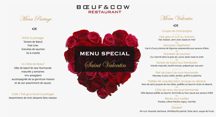 Menu Saint Valentin 2019 Restaurant Boeuf and Cow à Caen