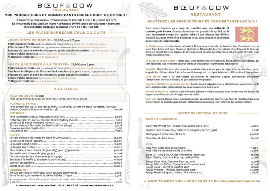 MENU BOEUF AND COW EMPORTER OU LIVRAISON